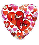 "18"" I Love You Two Big Hearts Foil Balloon"