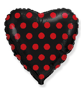 "18"" Heart Black Dots Red Foil Balloon"