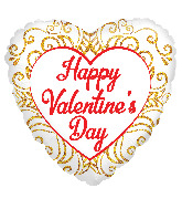 "18"" Happy Valentine's Day Gold Ornaments Foil Balloon"