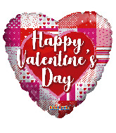 "18"" Happy Valentine's Day Patterns & Heart Foil Balloon"