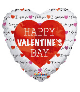 "18"" Classic Happy Valentine's Day Foil Balloon"