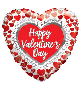 "18"" Happy Valentine's Day Glitter Hearts Foil Balloon"
