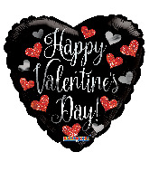 "18"" Happy Valentine's Day Black Heart Foil Balloon"