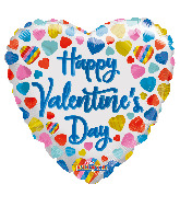 "18"" Happy Valentine's Day Multicolor Hearts Foil Balloon"