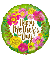 "17"" Happy Mother's Day Green And Flowers Foil Balloon"