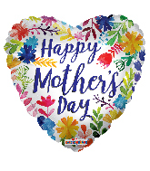 "17"" Happy Mother's Day Painted Flowers Foil Balloon"