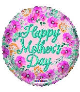 "18"" Happy Mother's Day Flowers Gellibean Foil Balloon"