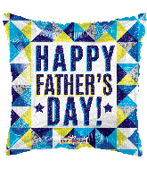 "18"" Happy Father's Day Geometric Holographic Foil Balloon"