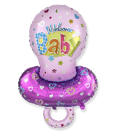 Jumbo Baby Girl Pacifier Pink Foil Balloon