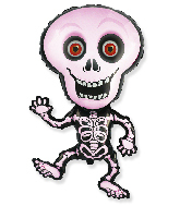 Jumbo Halloween Skeleton Pink Foil Balloon