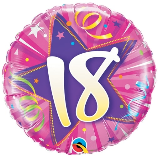 "18"" 18 Shining Star Hot Pink Mylar Balloon"