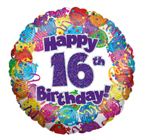 """18"""" Happy 16th Birthday Holographic Foil Balloon"""