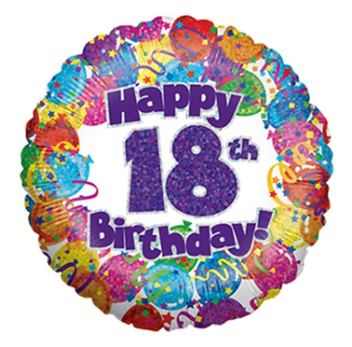 """18"""" Happy 18th Birthday Holographic Foil Balloon"""