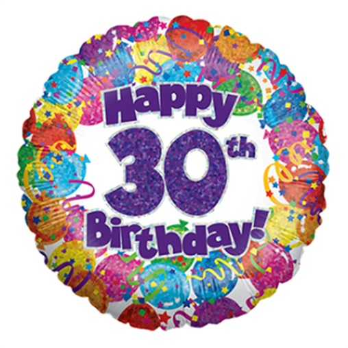 """18"""" Happy 30th Birthday Holographic Foil Balloon"""