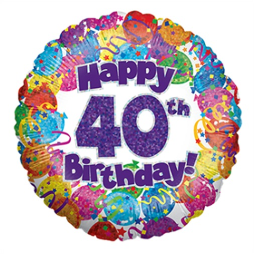 """18"""" Happy 40th Birthday Holographic Foil Balloon"""