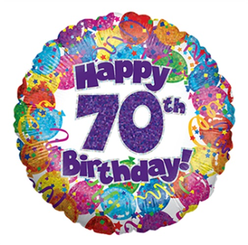 "18"" Happy 70th Birthday Holographic Foil Balloon"