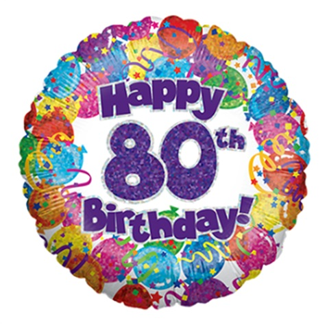 """18"""" Happy 80th Birthday Holographic Foil Balloon"""