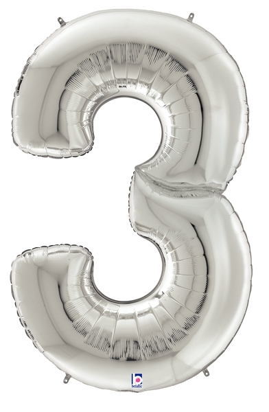 """64"""" Foil Shaped Gigaloon Balloon Packaged Number 3 Silver"""
