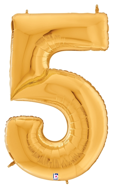 """64"""" Foil Shaped Gigaloon Balloon Packaged Number 5 Gold"""