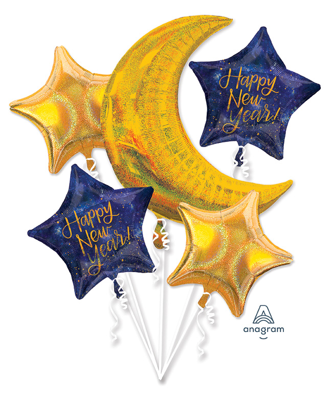 Bouquet Midnight New Years Eve Foil Balloon