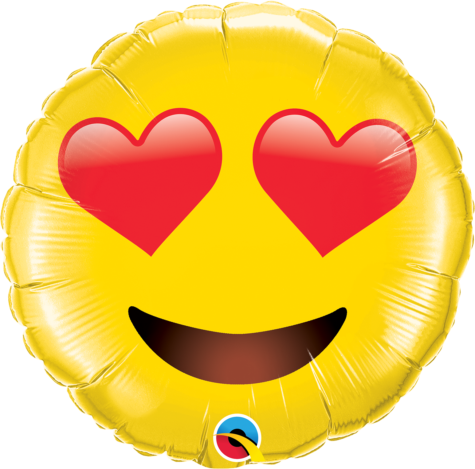 """28"""" Smiley Face With Heart Eyes Foil Balloon"""