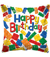 "18"" Birthday Falling Bricks Foil Balloon"