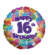 "18"" Happy 16th Birthday Holographic Foil Balloon"