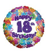 "18"" Happy 18th Birthday Holographic Foil Balloon"