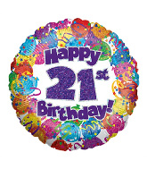 "18"" Happy 21st Birthday Holographic Foil Balloon"
