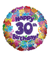 "18"" Happy 30th Birthday Holographic Foil Balloon"