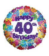 "18"" Happy 40th Birthday Holographic Foil Balloon"