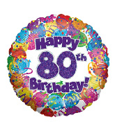"18"" Happy 80th Birthday Holographic Foil Balloon"