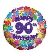"18"" Happy 90th Birthday Holographic Foil Balloon"
