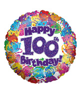 "18"" Happy 100th Birthday Holographic Foil Balloon"
