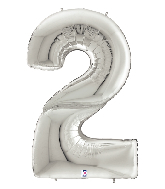"""64"""" Foil Shaped Gigaloon Balloon Packaged Number 2 Silver"""