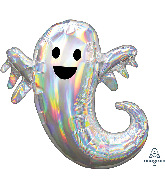 "28"" Jumbo Iridescent Ghost Foil Balloon"