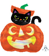 "28"" Jumbo Iridescent Cat and Pumpkin Foil Balloon"