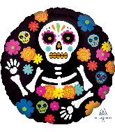 "18"" Day of the Dead Skeleton Foil Balloon"