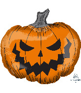 "29"" Jumbo Hallows&#39 Eve Pumpkin Foil Balloon"