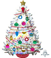 "36"" Jumbo Iridescent Christmas Tree Foil Balloon"