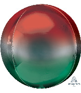 "16"" Ombré Orbz™ Red & Green Foil Balloon"