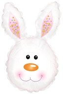 "30"" Bunny Head White Foil Balloon"