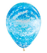 "11"" Betallic Graffiti Sky Blue Marble Latex Balloons"