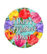 """18"""" Foil Balloon Happy Mother&#39s Day Tulips"""