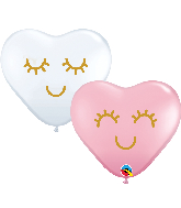 "6"" Heart Eyelashes Latex Balloons Pink, White (100 Per Bag)"