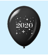 "11"" Year 2020 Stars Latex Balloons Black (25 Per Bag)"