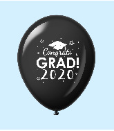 "11"" Congrats Grad 2020 Latex Balloons 25 Count Black"