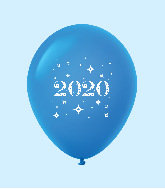 "11"" Year 2020 Stars Latex Balloons Blue (25 Per Bag)"