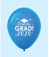 "11"" Congrats Grad 2020 Latex Balloons 25 Count Blue"