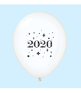 "11"" Year 2020 Stars Latex Balloons Clear (25 Per Bag)"